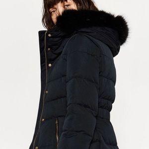 genuine wholesale outlet buy real Zara Navy Black Puffer Coat Black Fur Gold Zipper
